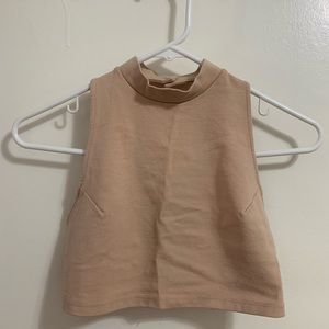 Cream crop top with open back